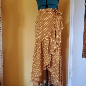 Mustard Polkadot High low Ruffle Skirt